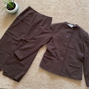 Kasper ASL Skirt Suit Brown Size 6P
